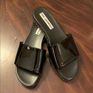 Karl Lagerfeld Black Patent Leather Sandals